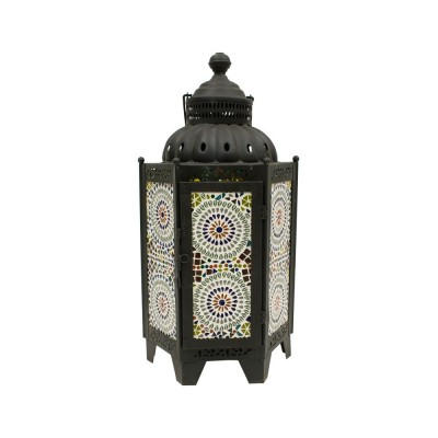 Farol hexagonal color negro grande