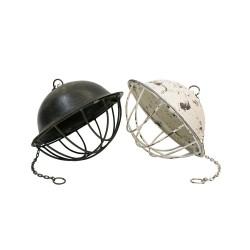 Lámpara casco blanca y metal oscuro
