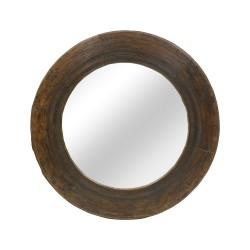 Espejo redondo de madera tallado