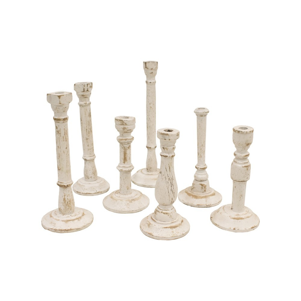 Candelabro de madera color blanco