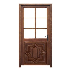 Puerta de madera con cristalera modelo Estrella