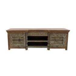 Mueble de tv de madera con talla