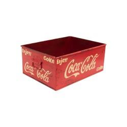 Caja metálica pintada con el logotipo de Coca-Cola.
