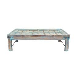 Mesa de centro madera azul