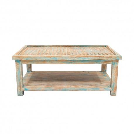 Mesa de centro de madera celeste y beige