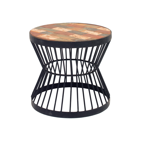 Mesa auxiliar metal y madera