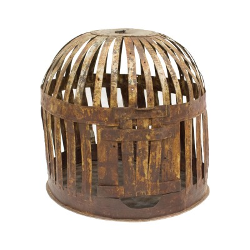 Farol metálico oxidado en forma de jaula