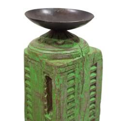 Candelabro de madera verde