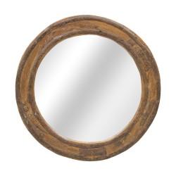 Espejo redondo marco de madera