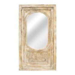 Espejo portada de madera beige y gris