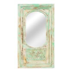 Espejo portada de madera verde