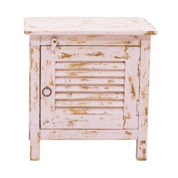 Mesita de noche de madera blanca