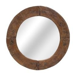 Espejo de madera redondo