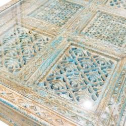 Mesa de centro  puerta celeste y beige