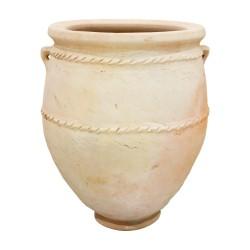 Tinaja de cerámica de boca ancha con asas
