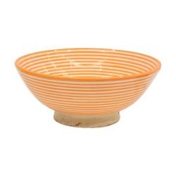 Cuenco cerámica líneas naranjas