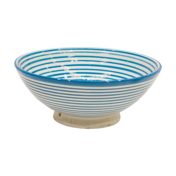 Cuenco de cerámica de líneas azules