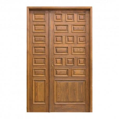 Puerta exterior de madera 1 hoja y fijo con 23 cuarterones