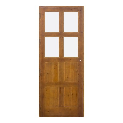Puerta de paso en madera con cuarterones en diamante