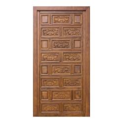 Puerta de madera interior con cuarterones