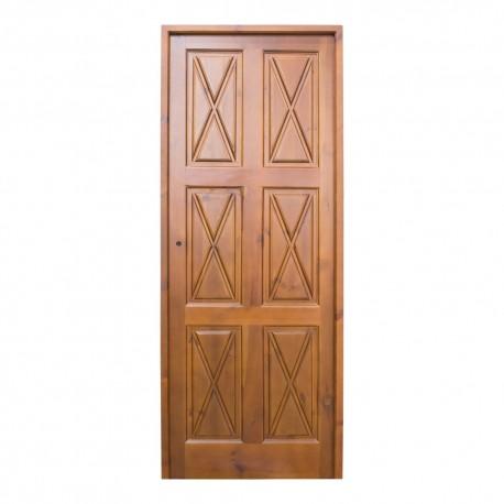 Puerta de paso de madera con cuarterones en cruz