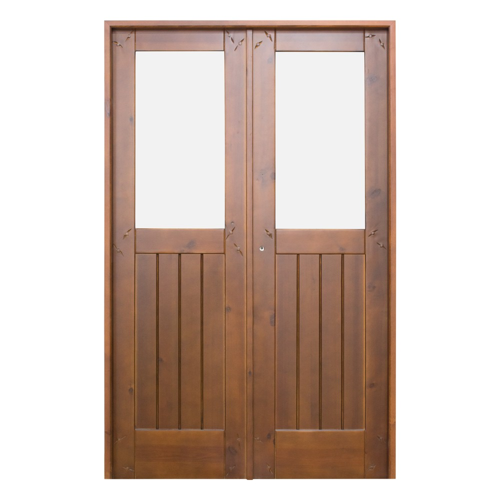 Puerta de madera interior de 2 hojas con cristalera