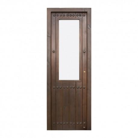 Puerta de interior de madera duelada y cristalera