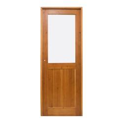 Puerta de interior de madera con cristalera