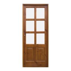 Puerta de madera de interior con cuarterones y palllería