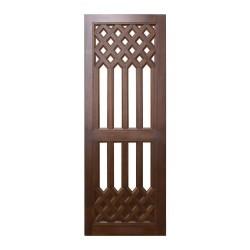 Puerta de madera de interior con celosía superior