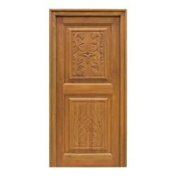 Puerta de exterior de madera con talla a una cara