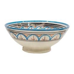 Cuenco de cerámica esmaltada azul cielo
