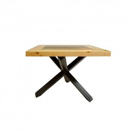Mesa comedor cuadrada madera estilo rústico