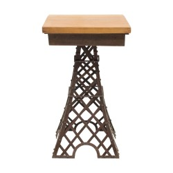 Mesa auxiliar Eiffel de madera y metal
