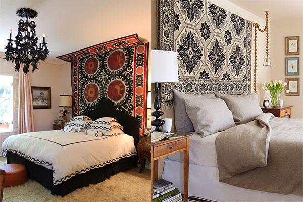Cabeceros fabricados con tapices antiguos.