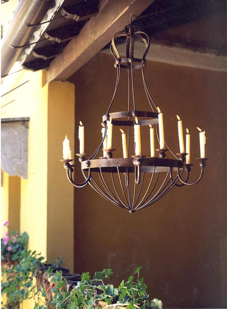 Lámpara forja soportes velas