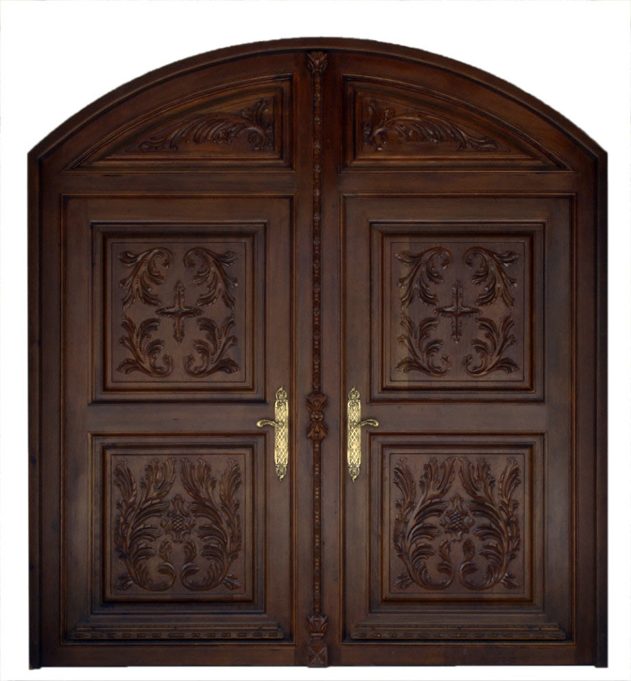 Puerta grande medio punto tallada