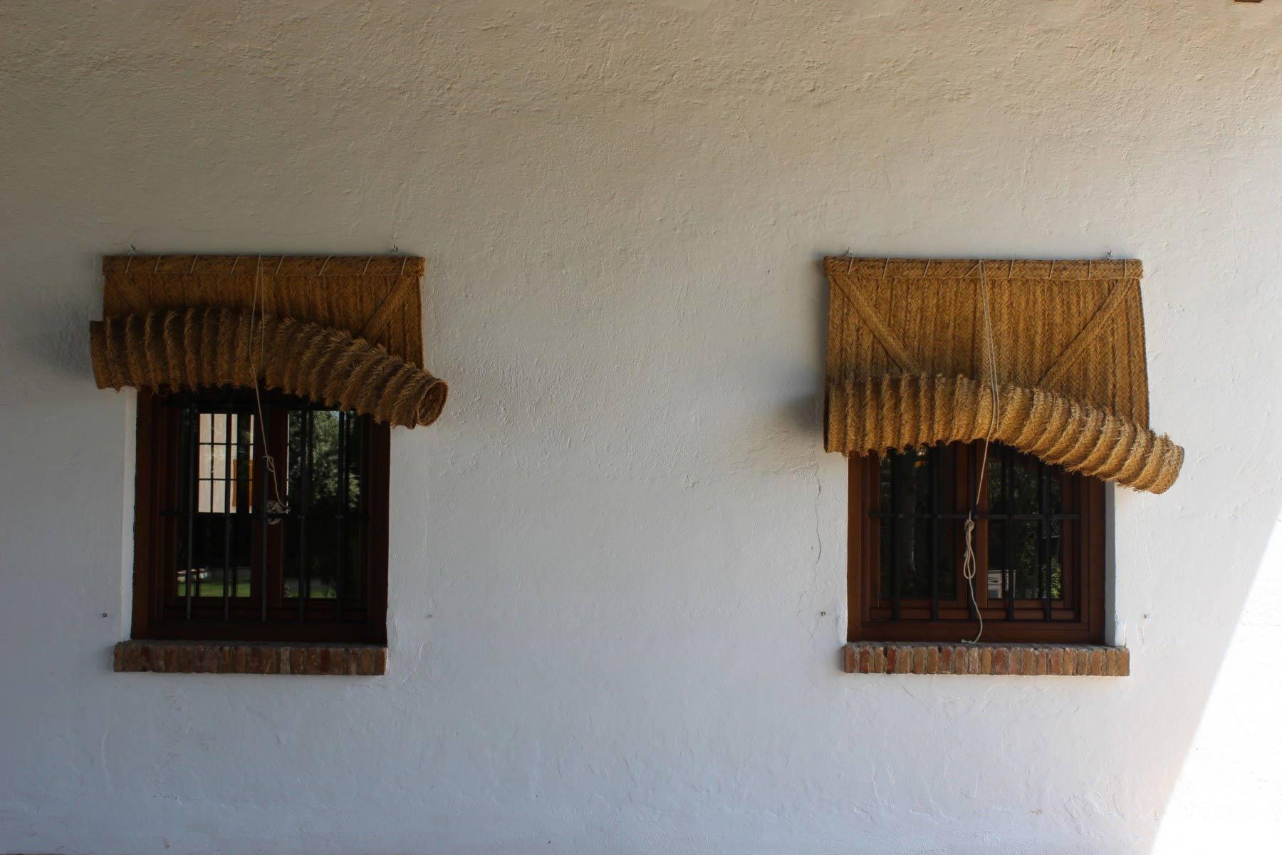 Ventanas de madera con alero de esparto