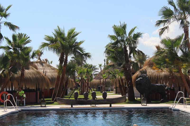 Decoración de exterior tropical con esculturas de bronce