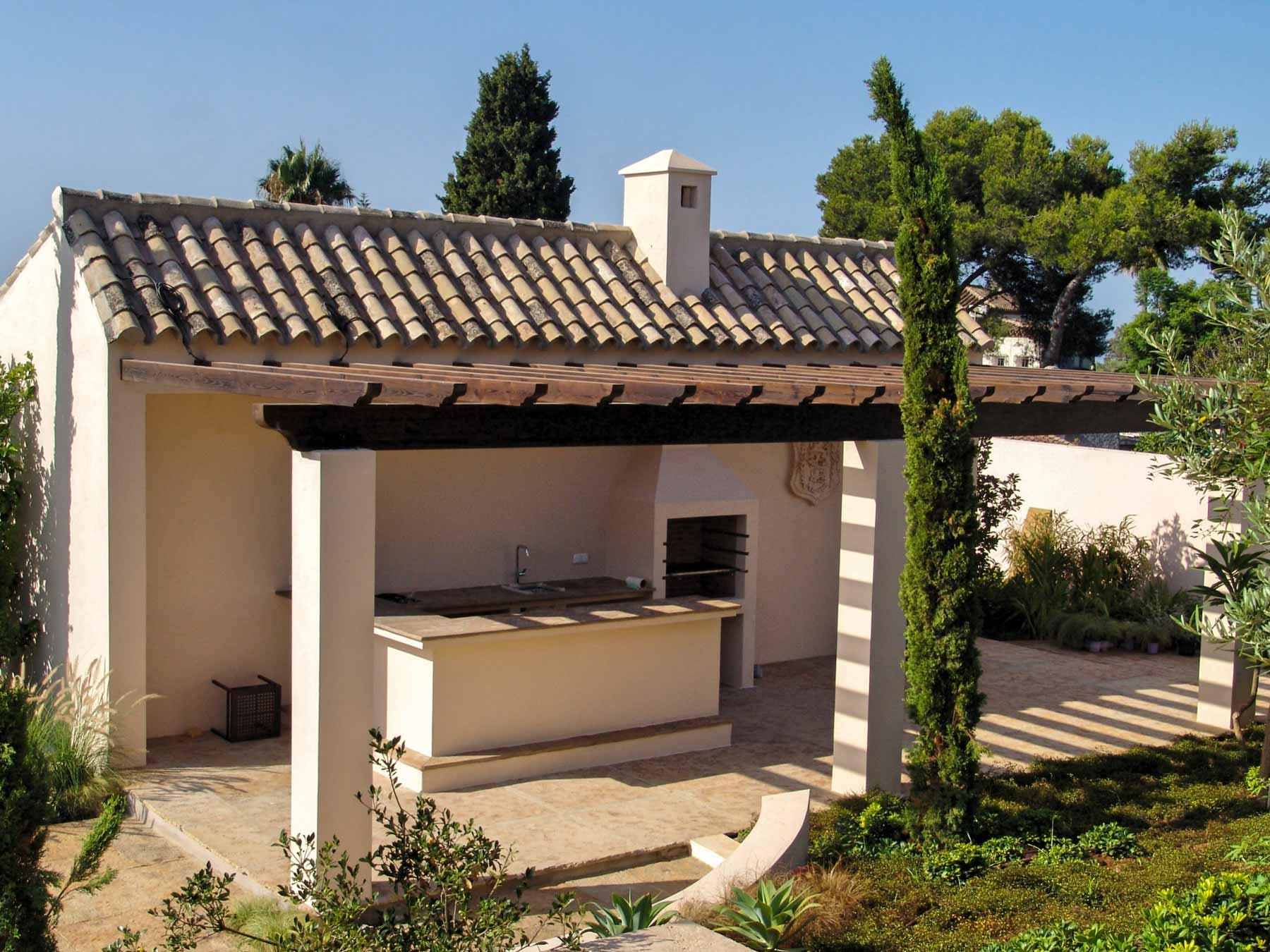 Villa mediterránea exterior estructura de madera