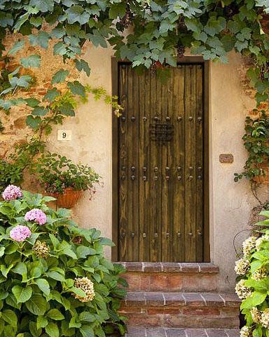 Puerta de madera antigua rústica