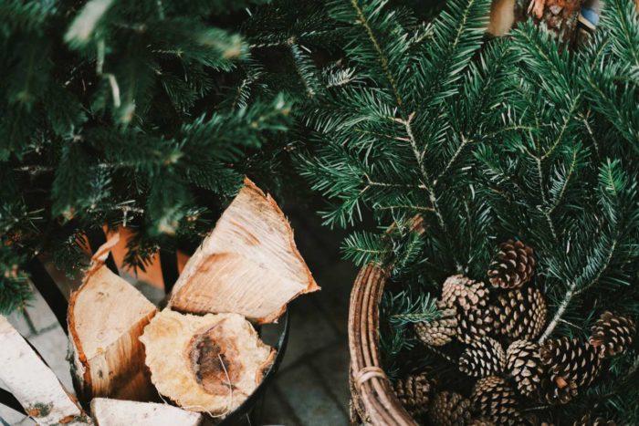 Decoración navidad cestas mimbre
