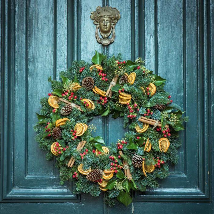Decoración navidad corona puerta
